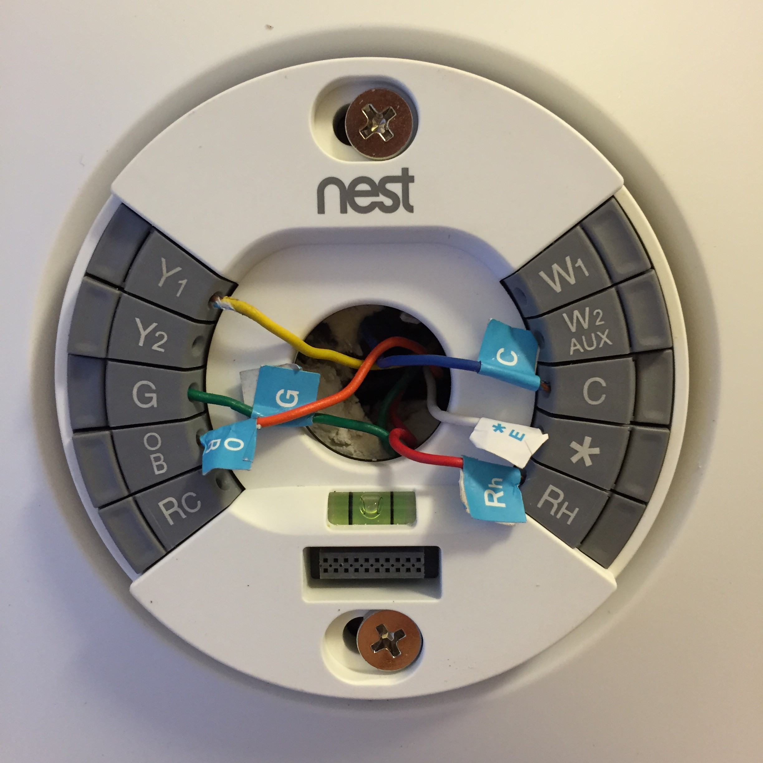 NEST Back Plate e1433878189266 the self learning nest thermostat comes to the sauser home! nest thermostat heat pump wiring diagram at bayanpartner.co
